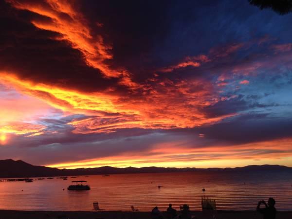 Lake Tahoe and Sierra Mountain Sunset