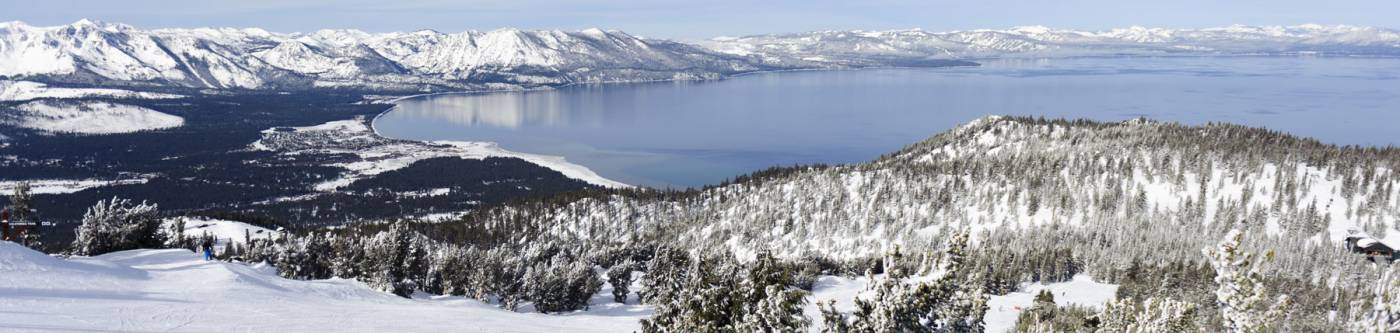 View of South Lake Tahoe from Snowy Ski Resort